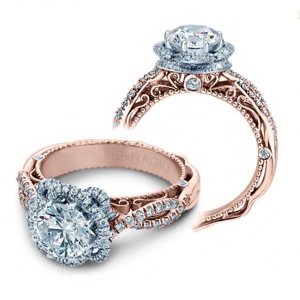 1ct natural diamond round cut infinity halo verragio designer natural diamon