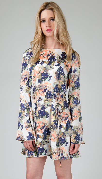 Flower blossom bell sleeve dress