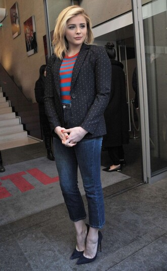 jacket top blazer jeans pumps chloe moretz fall outfits stripes striped top shoes
