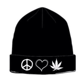hat peace love & weed beenie