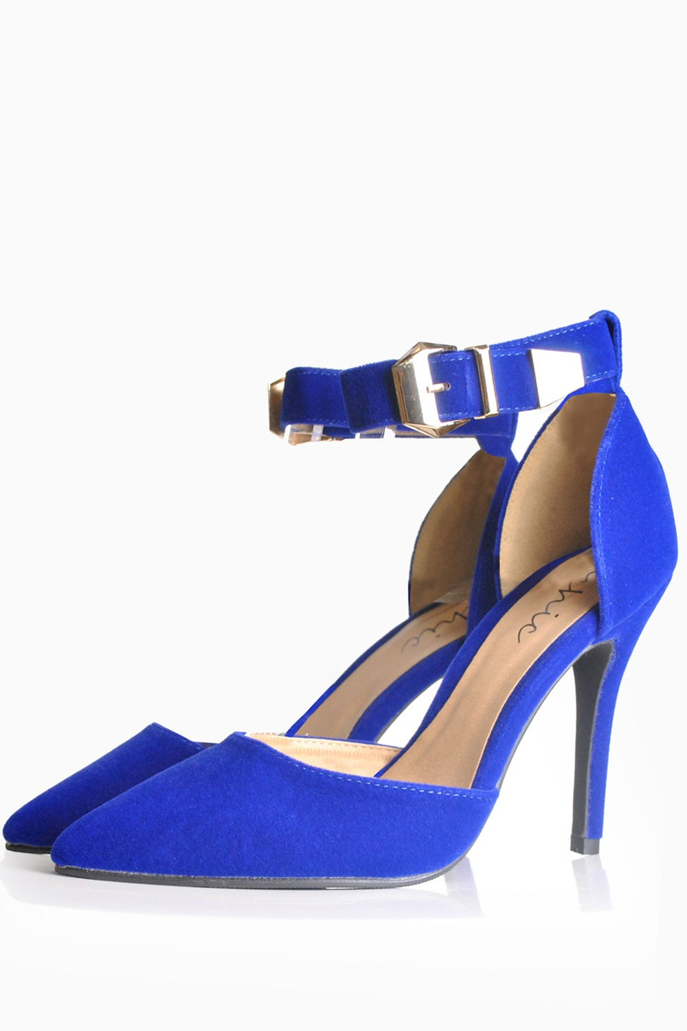 Ramona ankle strap pointed shoe in cobalt blue