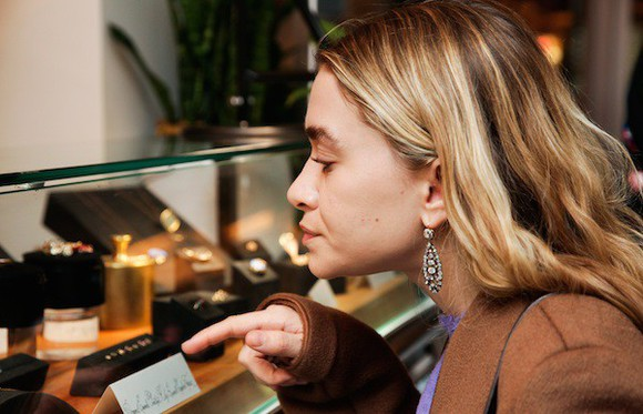 coat olsen sisters blogger jewels earrings