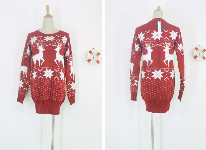 Christmas Womens Red Knitting Sweater White Snow David's Deer Knit Tops 4201 | eBay