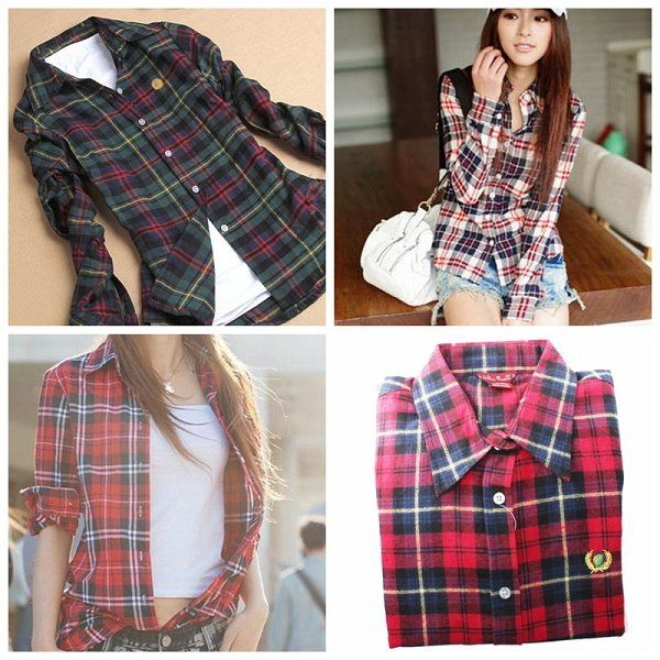 British Style Lapel Plaid & Check Cotton Long Sleeve Shirts Top ...