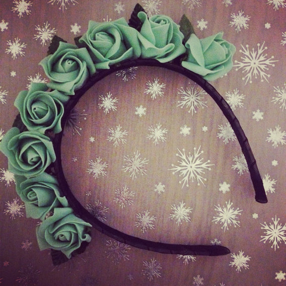 Mint green rose floral headband by littlehomemakes on etsy