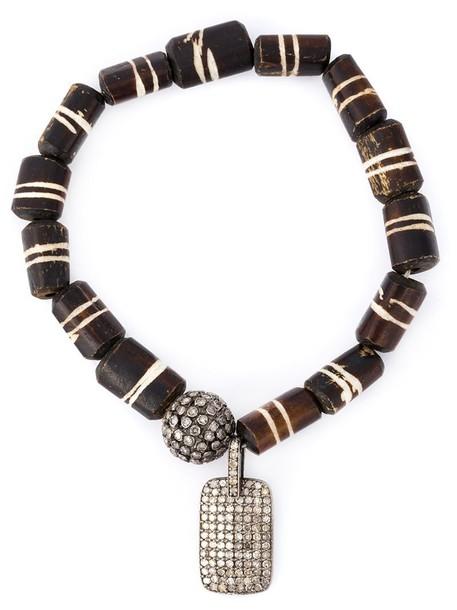Loree Rodkin wood women charm bracelet silver brown jewels