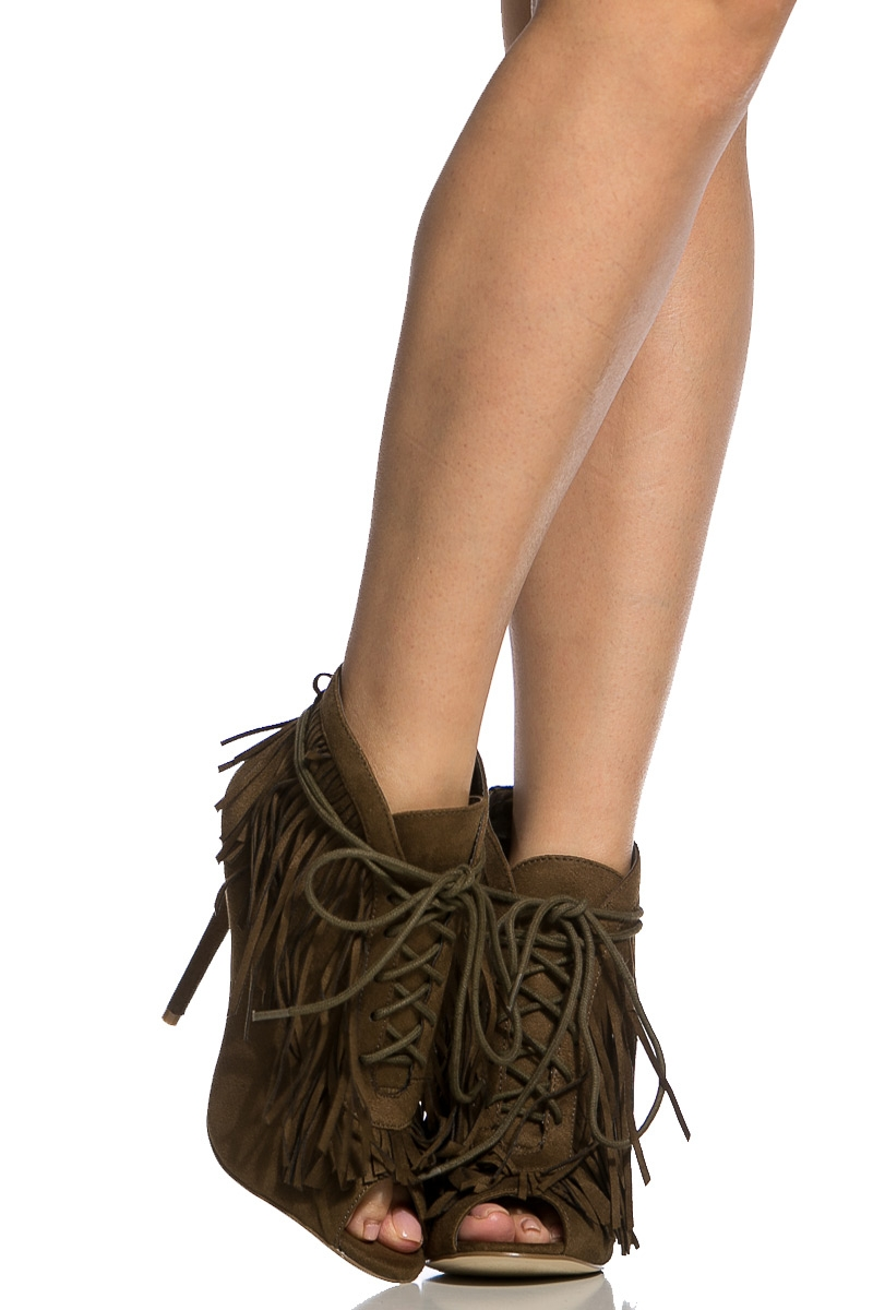 Olive Faux Suede Fringe Lace Up Peep Toe Booties   Cicihot Heel Shoes  online store sales Stiletto ... 0ba96bafe