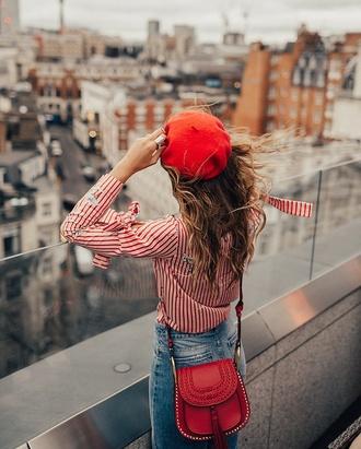hat tumblr beret shirt red shirt stripes striped shirt bag red bag tassel cross denim jeans blue jeans french girl style