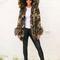Sofia oversized fur trim & cuff hooded parka in camo print with khaki fur