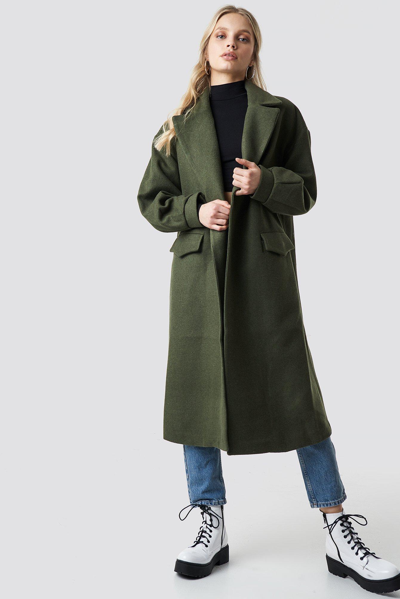 Belt Eye Detailed Long Coat Green