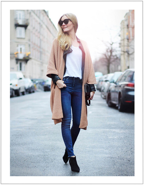 passions for fashion blogger jacket jeans sunglasses knitted cardigan white t-shirt cardigan t-shirt shoes jewels camel cardigan