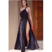 black dress,one shoulder,maxi dress,dress,double slit skirt,double split maxi dress,open back,short