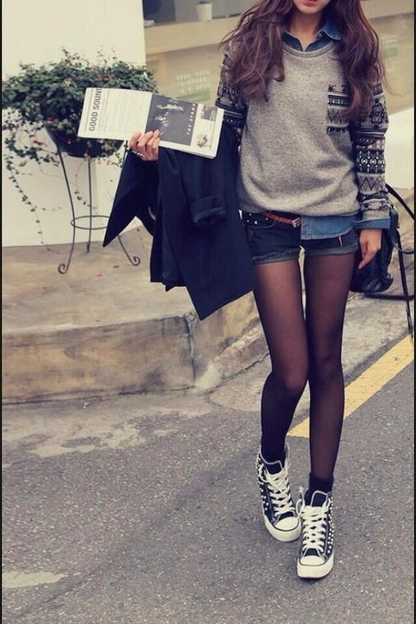 sweater outfit vintage grey sweater aztec sweater aztec tumblr tumblr clothes tumblr girl tumblr outfit tumblr sweater sweater aztec jacket tights denim shirt black converse studded converses shoes