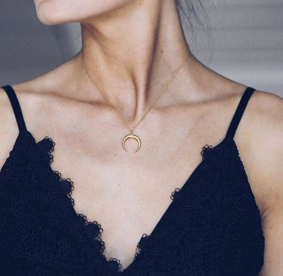 Horn Necklace | Double Horn Necklace | Gold, Rose Gold, Sterling Silver