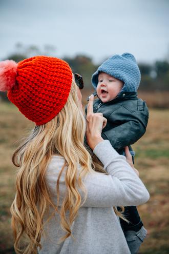 barefoot blonde blogger pom pom beanie kids fashion baby clothing