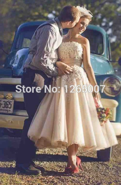 Aliexpress.com : Buy 2014 Elie Saab Fashion Strapless Lace Top Tulle A Line Mid Calf Fashion New Wedding Dress Bridal Gowns from Reliable dress multi suppliers on SFBridal