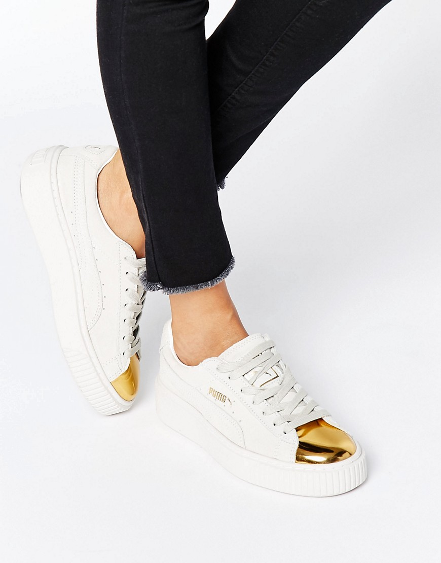 7a942d2ed7a3 Puma Suede Platform Trainers In White With Gold Toe Cap at asos.com