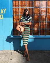 sunglasses,slide shoes,slide sandals,dress,stripes,bag,brown bag