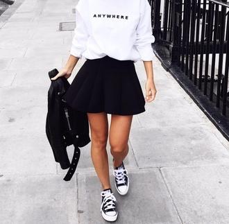 top tumblr white top sweatshirt skirt mini skirt black skirt leather jacket black leather jacket black jacket sneakers black sneakers converse high top converse black converse