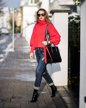 sweater tumblr red sweater turtleneck turtleneck sweater denim jeans blue jeans sunglasses boots patent boots black boots bag black bag