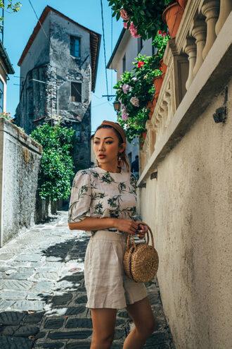 not jess fashion blogger top shorts shoes bag jewels round bag basket bag summer outfits