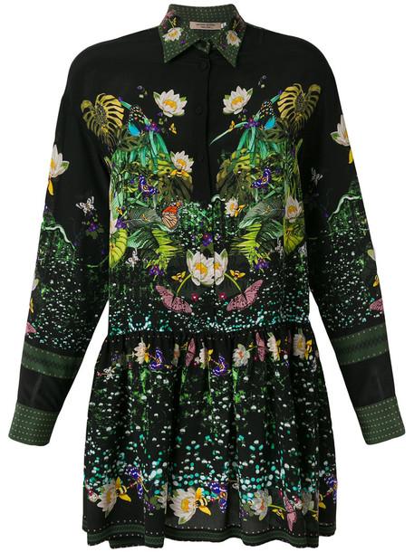 PICCIONE.PICCIONE dress shirt dress women black silk
