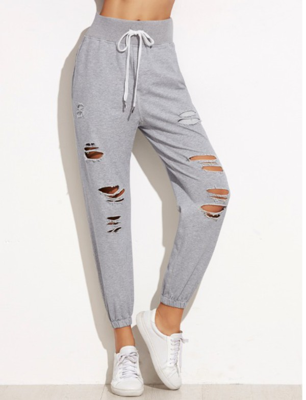 pants girl girly girly wishlist grey sweatpants joggers joggers pants ripped