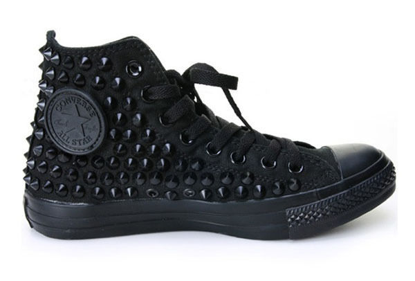 Original Converse All Star black Spike Studded custom ALL BLACK ... 591432771