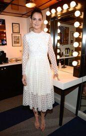 dress,lace dress,lace,white,white dress,katie holmes,midi dress