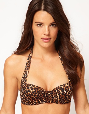 ASOS | ASOS Mix and Match Halter Leopard Print Bikini Top at ASOS
