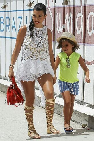 top blouse lace dress lace top summer outfits shorts kourtney kardashian gladiators shoes