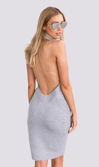 dress grey open back sexy fashion style trendy hot musheng