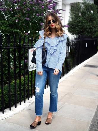 shirt tumblr blue shirt ruffle ruffle shirt stripes striped shirt denim jeans blue jeans shoes slide shoes sunglasses bag