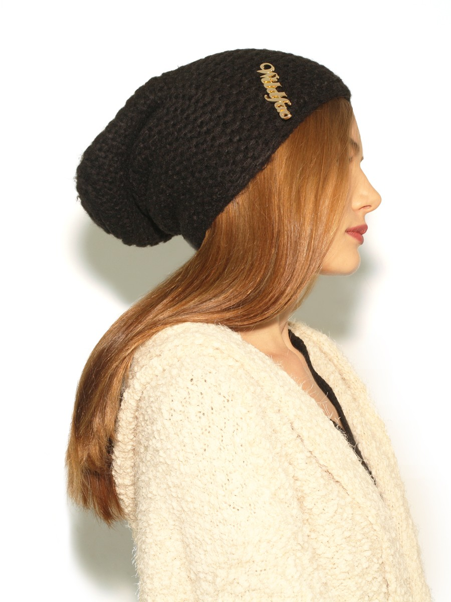 Wildfox knit beanie in black as seen on alessandra ambrosio