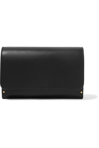 The Row leather clutch wood clutch leather black bag