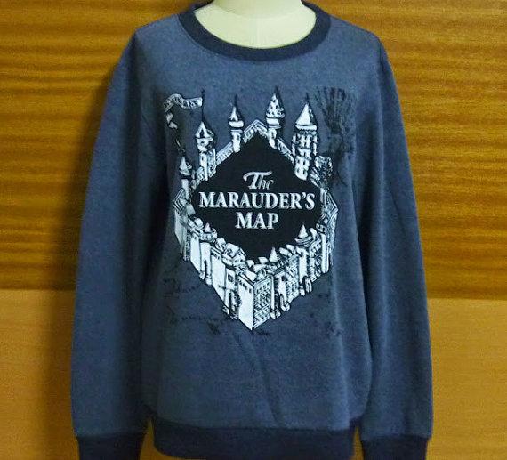 Shirt harry potter marauders tee crew neck sweater designed dark gray sweatshirt s m l xl xxl
