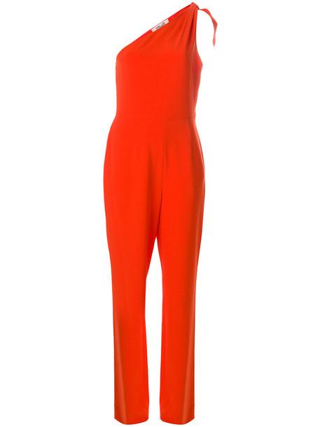 Dvf Diane Von Furstenberg - one shoulder jumpsuit - women - Polyester/Triacetate - 2, Red, Polyester/Triacetate