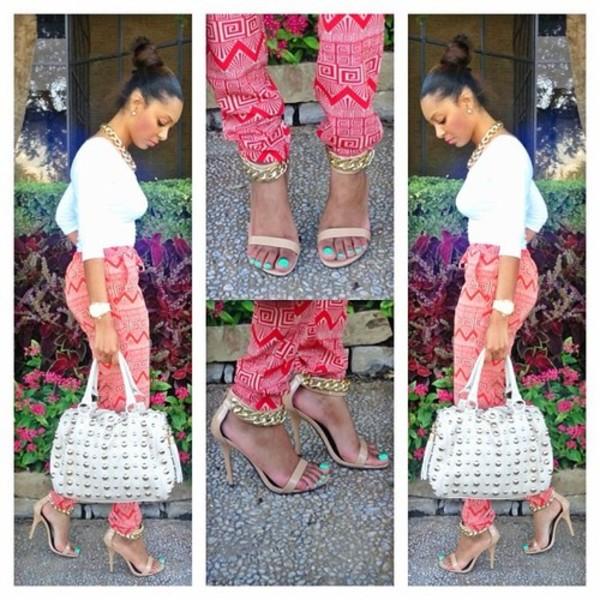 pants bag shoes red aztec clothes trouser