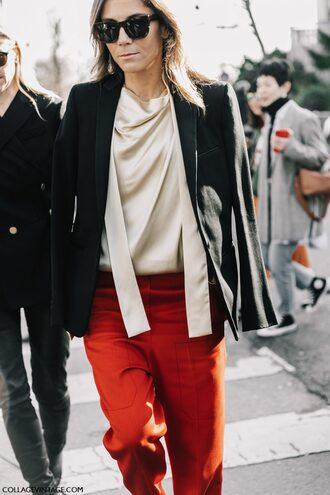 blouse top silk top tumblr nude top silk blazer black blazer pants red pants paris fashion week 2017 streetstyle fashion week 2017 fashion week sunglasses