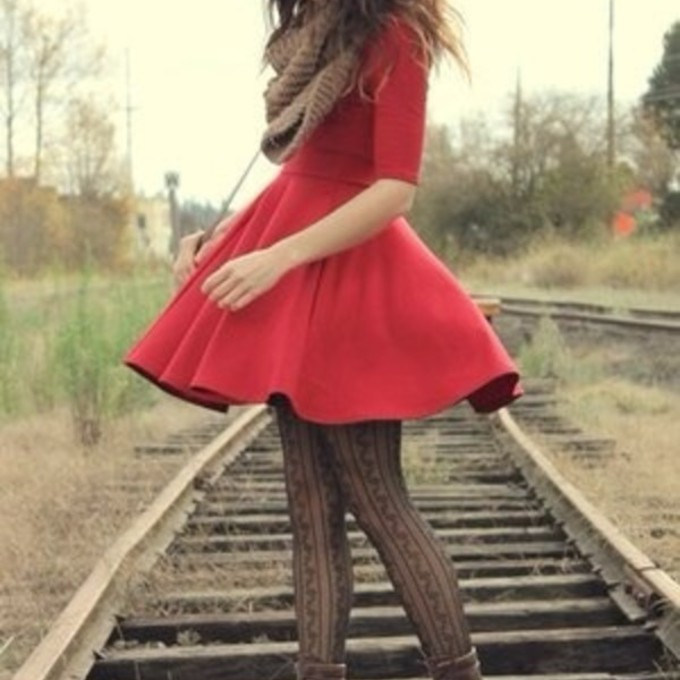 scarf shoes red cute dress combat boots fall outfits red dress boots winter outfits pretty dress curly hair scarf red