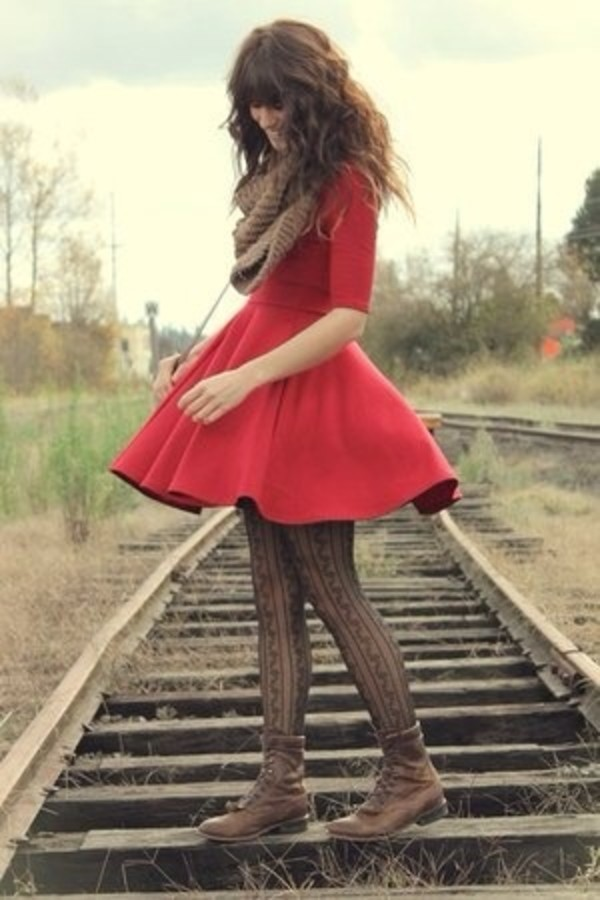 dress red red dress scarf winter outfits fall outfits fall boots boots combat boots cute pretty dress curly hair shoes tights