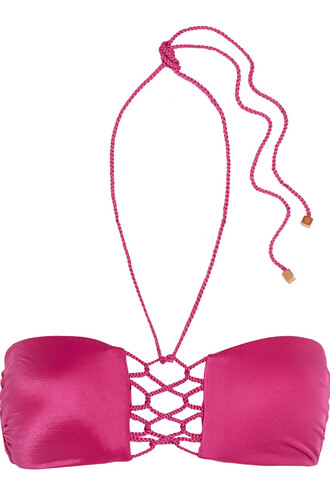 bikini bikini top braided magenta swimwear