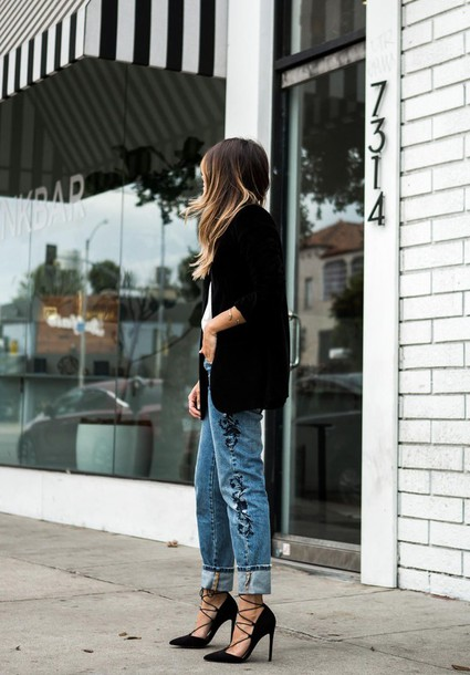 477bdbafd05 jeans tumblr denim blue jeans cuffed jeans high heels black heels heels  lace up heels embroidered