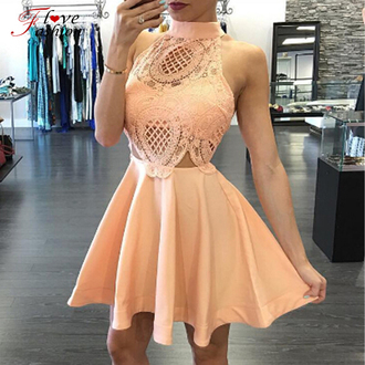 dress lace lace dress skater dress mini dress party dress cute beautiful girly peach beige rose fashion trendy glamour homecoming dress homecoming short homecoming dress homecoming dress 2016 2016 homecoming dresss short prom dress lace prom dress 2016 short prom dresses cocktail dress
