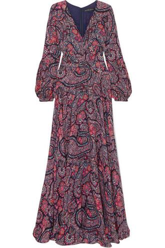 gown silk purple dress