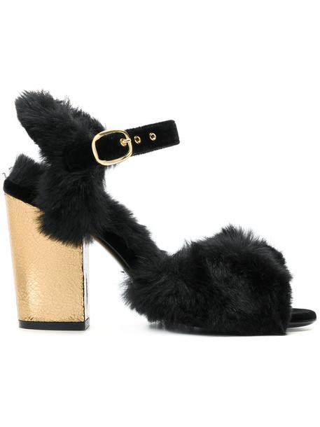 Fausto Zenga fur women sandals leather black shoes