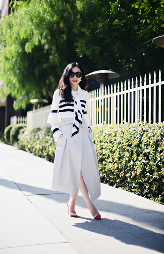hallie daily blogger classy striped shirt grey skirt