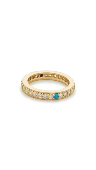 clear angel ring gold turquoise jewels