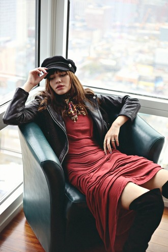 natalie off duty blogger hat red dress thigh high boots scarf leather jacket fisherman cap