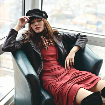 scarf hat red dress leather jacket blogger thigh high boots natalie off duty fisherman cap scarf red